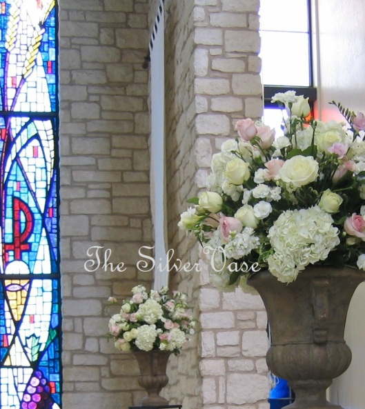 Pink & White Altar Arrangements