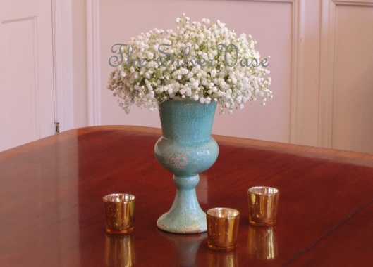babys breath in blue vase